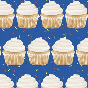 vanilla cupcake rows with sprinkles - classic blue