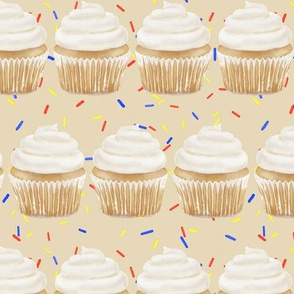 vanilla cupcake rows with sprinkles - cream
