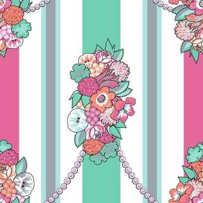 Flower Stripes Rococo (Mint)