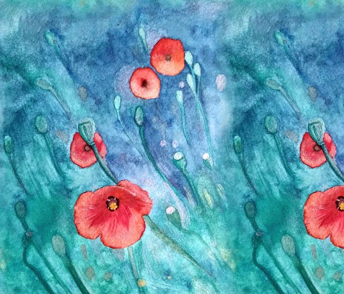First to Bloom Poppies - Watercolour