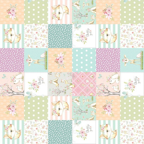 """3"""" BLOCKS- Daddy's Girl WhisperWood Nursery Woodland Patchwork Quilt ROTATED – Deer Fox Bunny Flowers, pink mint peach gray, Quilt A"""