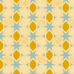 Ogee Flowers and Stars, Mustard Yellow and Robin's Egg Blue