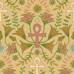 Ancient Egyptian Symbol Ankh with Papyrus in  Ancient Scroll Colours of Green Brown Tan Pink Blue - UnBlink Studio by Jackie Tahara