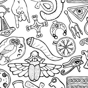 Ancient Amulets Line Art