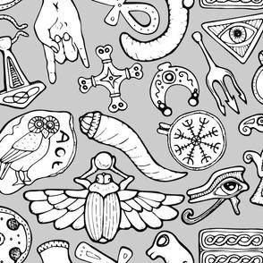 Ancient Amulets -Large Print Grey