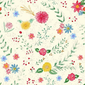 Hand Painted Wildflowers on Cream Large Scale