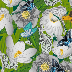 Sprouting Spring in the Woods- Butterflies, Bees and Geckos enjoying Lady Slipper Orchid, Lenten Rose and Crocus- Platinum Gray- Large Scale