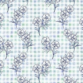 Cosmos on Blue Green Gingham
