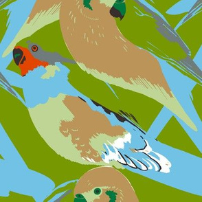Parrots on green (large scale)