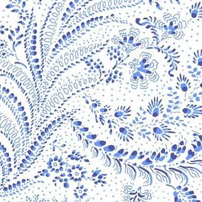 fern leaves botanical - white blue indigo