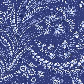 fern leaves botanical - indigo blue white