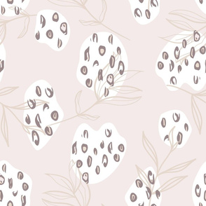 Light Colored Leopard Print on Organic Shapes with Peony Leaves seamless pattern background.