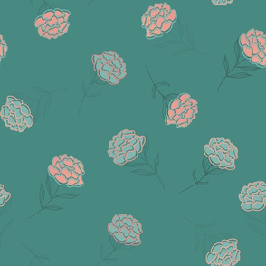 Rosegold Peonies with Green Leaves seamless pattern background.