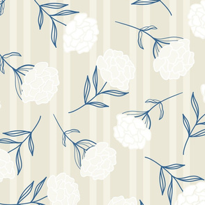 Beautiful Peonies in Light Creme on Stripes seamless pattern background.
