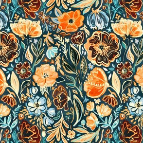 Messy Vivid Floral in Orange and Blue
