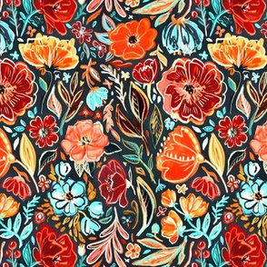Bright Red and Cyan Scruffy Small Scale Floral