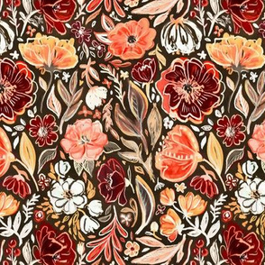 Smudgy Floral in Autumn Coral and Dark Brown