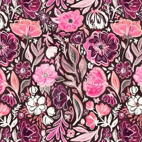 Pink and Purple Scruffy Small Scale Floral