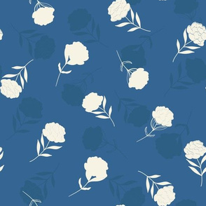 Floral Peony Shapes in Light Creme on Blue seamless pattern background.