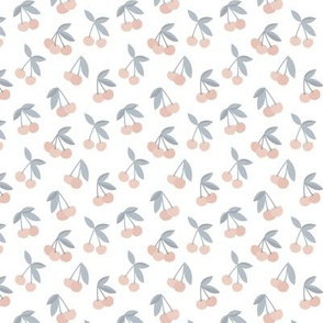 Little Cherry love garden and spots for spring summer nursery design stone gray coral blush on white