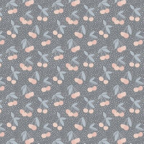 Little Cherry love garden and spots for spring summer nursery design stone gray coral blush gray