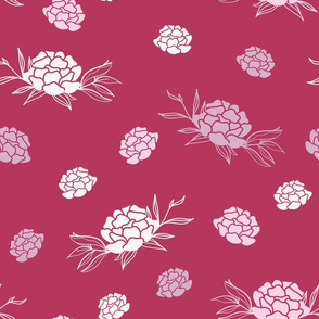 Peony Flowers with Leaves on Carmine Red seamless pattern background.