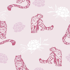 Snow Leopards with Peony Flowers in Soft Pink seamless pattern background.