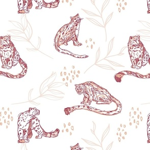 Snow Leopard with Peony Leaves seamless pattern background.