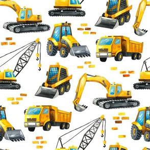 yellow construction trucks with bricks