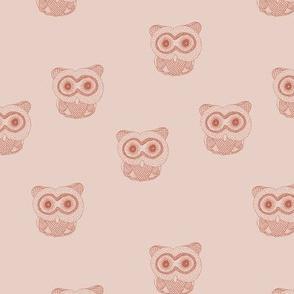 Little Scandinavian vintage style owls sweet boho owl design kids nursery baby blush sand coral burnt orange