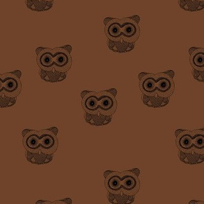 Little Scandinavian vintage style owls sweet boho owl design kids nursery baby copper rust brown chocolate