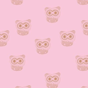 Little Scandinavian vintage style owls sweet boho owl design kids nursery baby caramel pink