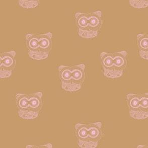 Little Scandinavian vintage style owls sweet boho owl design kids nursery baby pink caramel