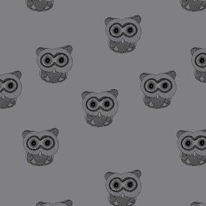 Little Scandinavian vintage style owls sweet boho owl design kids nursery baby slate gray black
