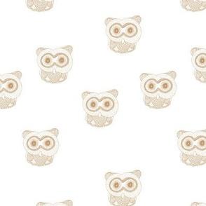 Little Scandinavian vintage style owls sweet boho owl design kids nursery baby honey yellow ochre on white