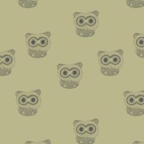 Little Scandinavian vintage style owls sweet boho owl design kids nursery baby honey yellow olive green black