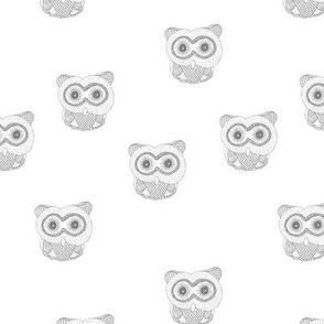 Little Scandinavian vintage style owls sweet boho owl design kids nursery baby honey light gray on white