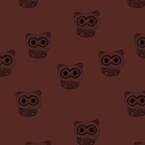 Little Scandinavian vintage style owls sweet boho owl design kids nursery baby honey maroon red black