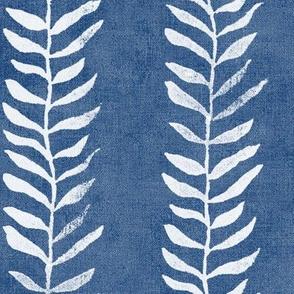Botanical Block Print in Indigo Blue (xl scale)   Leaf pattern fabric from original block print, plant fabric, white on denim blue.