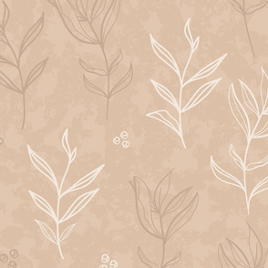 Peony Leaves in Beiges on Textured Background seamless pattern background.