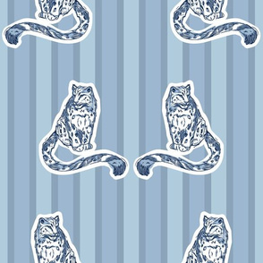 Blue Monochromatic Snow Leopards On Stripes seamless pattern background.