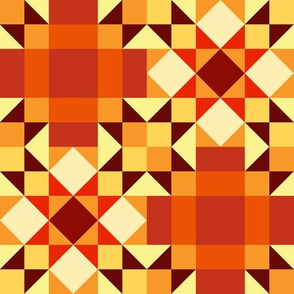 Autumn Star Chains Quilt (#2) - Medium Scale