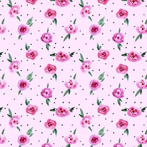 Magenta rose garden in Provence - small scale watercolor pretty roses a119-12