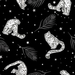 Abstract Leopards with Palm Leaves and Stars seamless pattern background.
