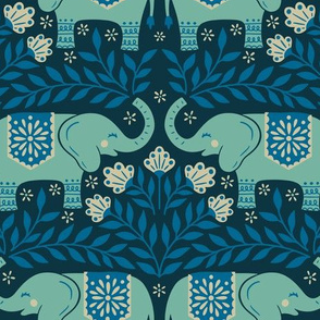 Lucky Elephants - Medium Scale Blue