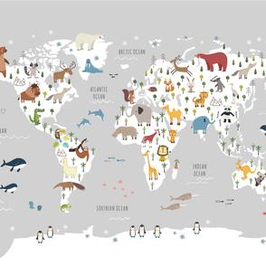 Play mat Animals Map grey