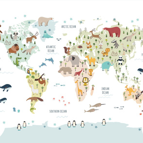 Colorful World Map Animals