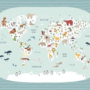 Round World Map with Animals