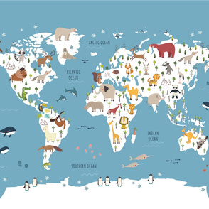 Blue World Map with Animals