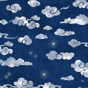 Night Sky with Clouds and Stars (large scale)   Indigo blue Japanese print fabric, coordinate fabric for the crane pattern as part of the Love, Luck & Happiness collection.